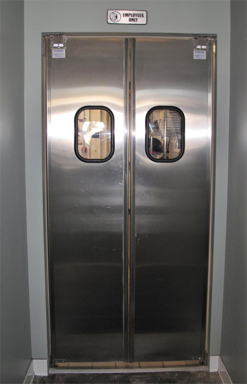 Restaurant kitchen double swing doors stainless steel for Door to door sales