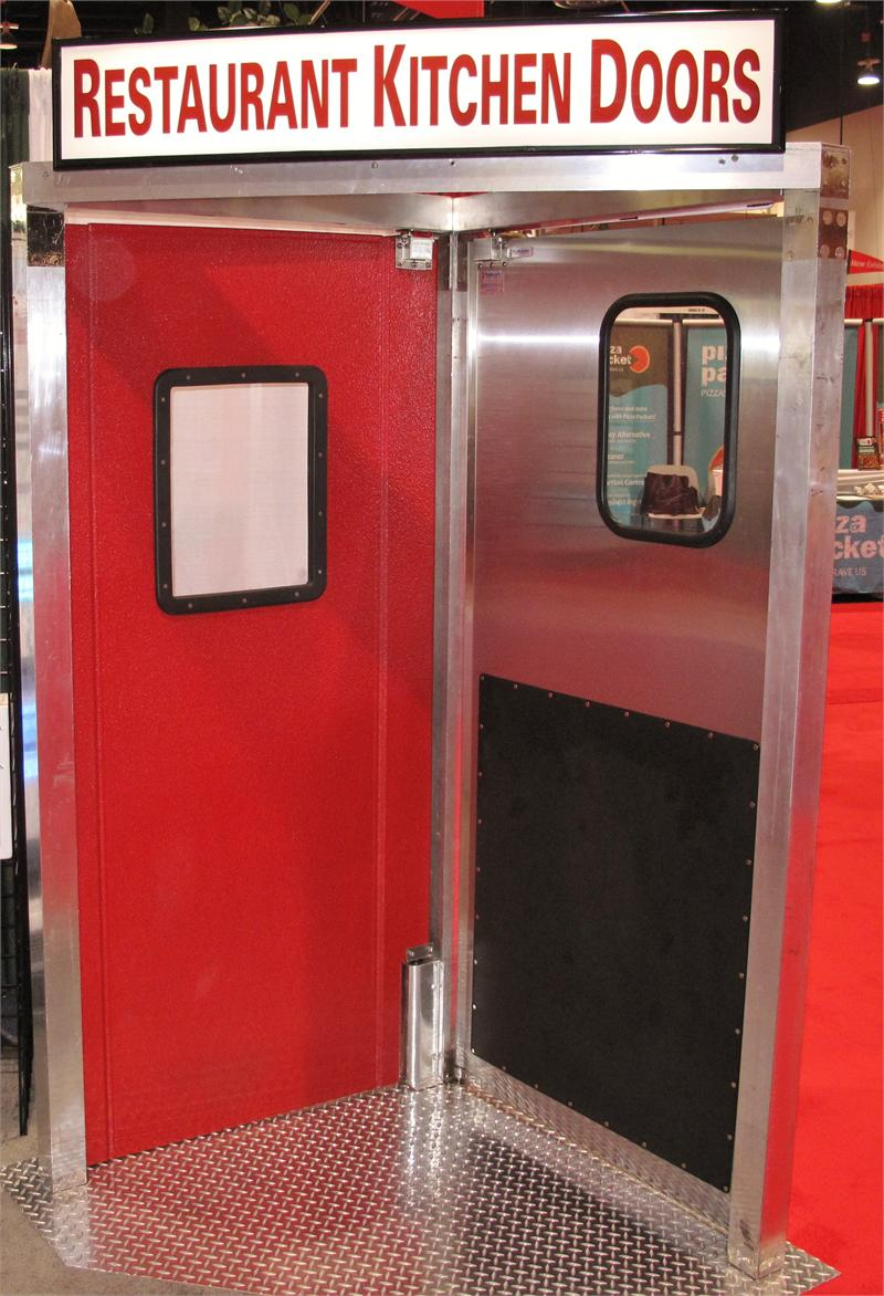 Red restaurant kitchen doors on sale by traffic doors and more 36 x 84 red restaurant swinging - Commercial double swing doors ...