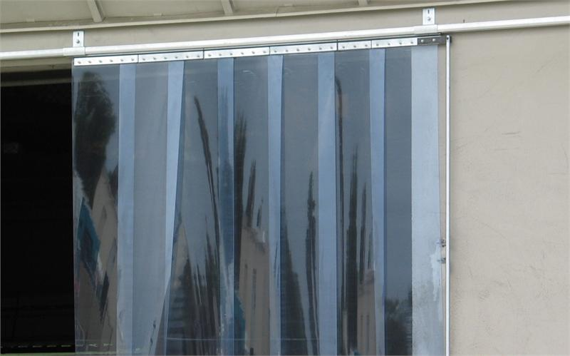 Slide Open Strip Curtain Installed. Sliding Strip Curtain Track.