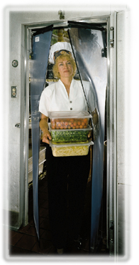 clear vu doors - clear plastic swing doors for walk in coolers on