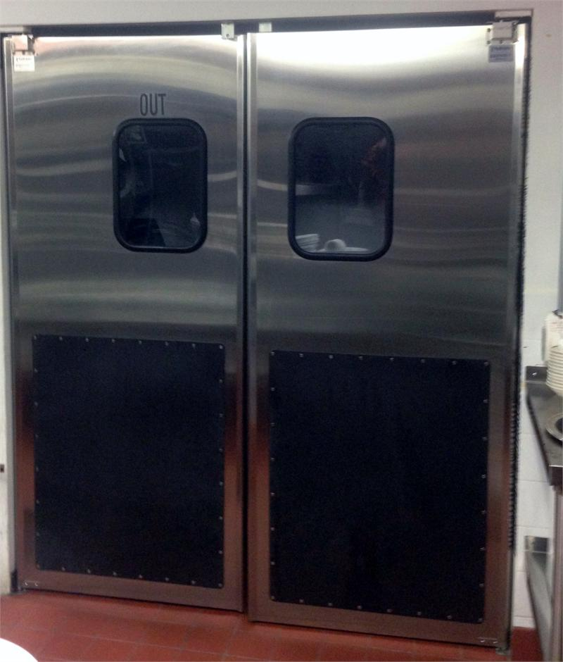 Stainless Steel Double Door With Kick Plates.