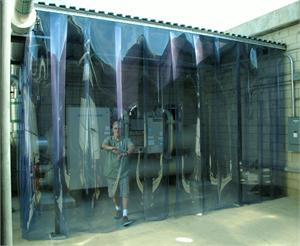 Strip Curtain Wall for covering machinery from weather and noise. PVC Strip Doors On Sale.