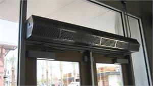 Heated Air Curtains Fly Fans For Customer Entry Heated Air Doors.