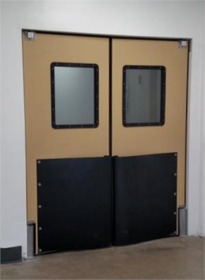 Ruff Tuff Door with large windows. Swinging Imapact Doors with Bumpers.
