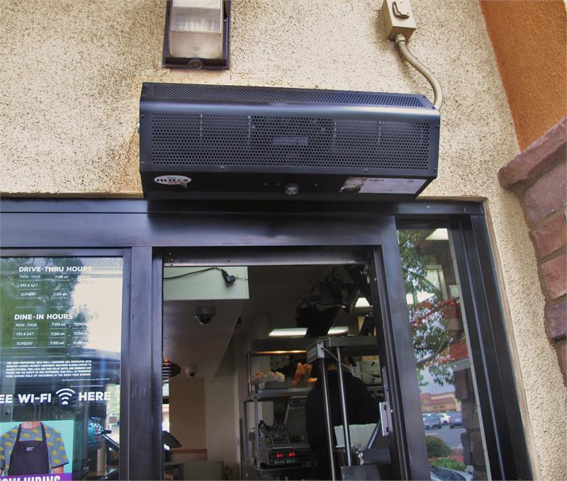 Fly Fan Air Curtains For Drive Thru Window Restaurant
