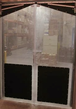 The Gorilla Door- Clear swinging plastic traffic doors.Clear PVC Swing doors for grocery stores.