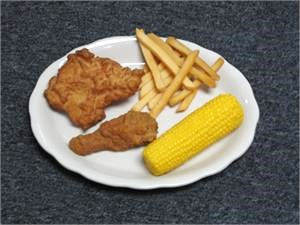 Replica Chicken Dinner Plate for display. Fake foods with chicken dinner plate for restaurant fake food display.