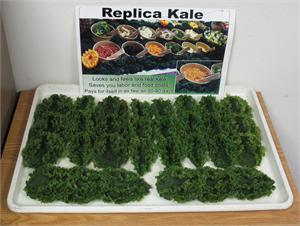 Plastic kale for fake foods salad bar display.