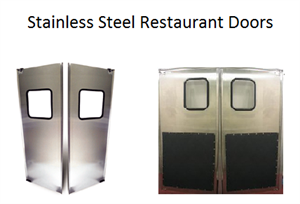 restaurant kitchen doors- stainless steel double door- swinging stainless doors for restaurants in stock.