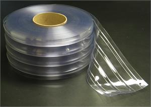 "8"" wide pvc strip curtain roll for forklift traffic in coolers and freezers."