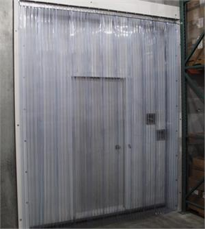 Plastic Strip Curtains for freezers custom sizes. Traffic Doors and More with freezer grade strip curtains.