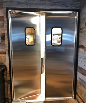 Restaurant Kitchen Doors Stainless Steel, Double swinging restaurant doors in stock at Traffic Doors and More.