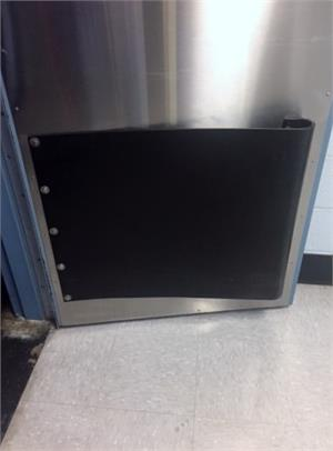 Thick stainless steel traffic door with bumpers. Stainless Restaurant Doors On Sale.