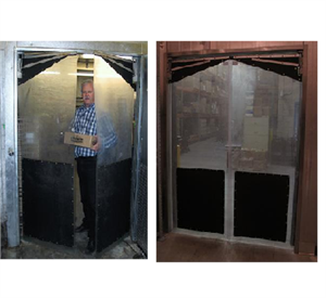 Clear Plastic Swing Doors with Kick plates. Clear PVC Swinging traffic doors with door impact plates.