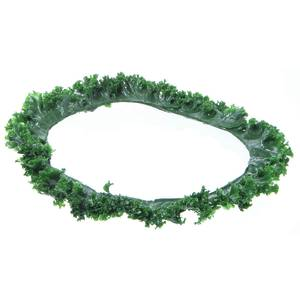 Round plastic kale for salad bar dressing containers.