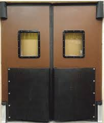 V cam Doors, warehouse impact doors. V cam Traffic Doors with bumpers.