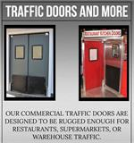 Large selection of double swinging doors for restaurants and supermarket swing doors.