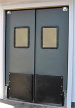 Swinging traffic door for grocery swing door with bumpers. Supermarket Doors For Sale.