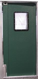 Traffic Doors for restaurants, swinging traffic door green doors for restaurant kitchen door.
