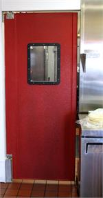 Pro Tuff Door For Restaurant Kitchen Doors with Custom Sizes, Red Swing Door for restaurants and grocery stores.