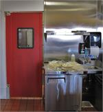 Red Color Restaurant Kitchen Door. Doors for restaurants with custom sizes. Traffic Doors and More On Sale.