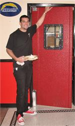Red Restaurant Kitchen Doors, Red Swinging Door For Restaurant Traffic, Pro Tuff Doors.