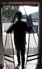 Hanging Screens- walk thru screen doors for fly control. Hang Down Screen Doors In Stock.